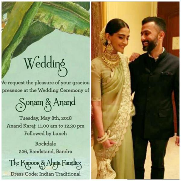 Only E-invites for Sonam Kapoor and Anand Ahuja's Wedding, Details are out!