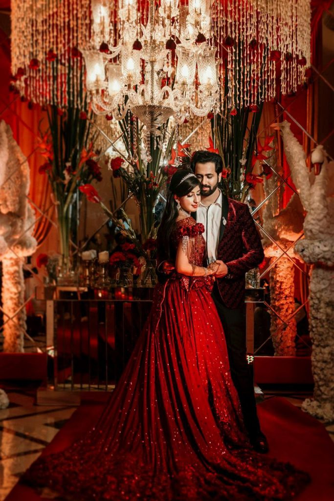 Delhi Wedding with a bride & groom in designer engagement outfits