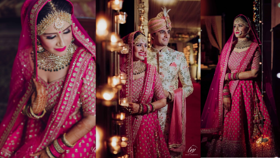 Indian Bride In Electric Pink Lehenga