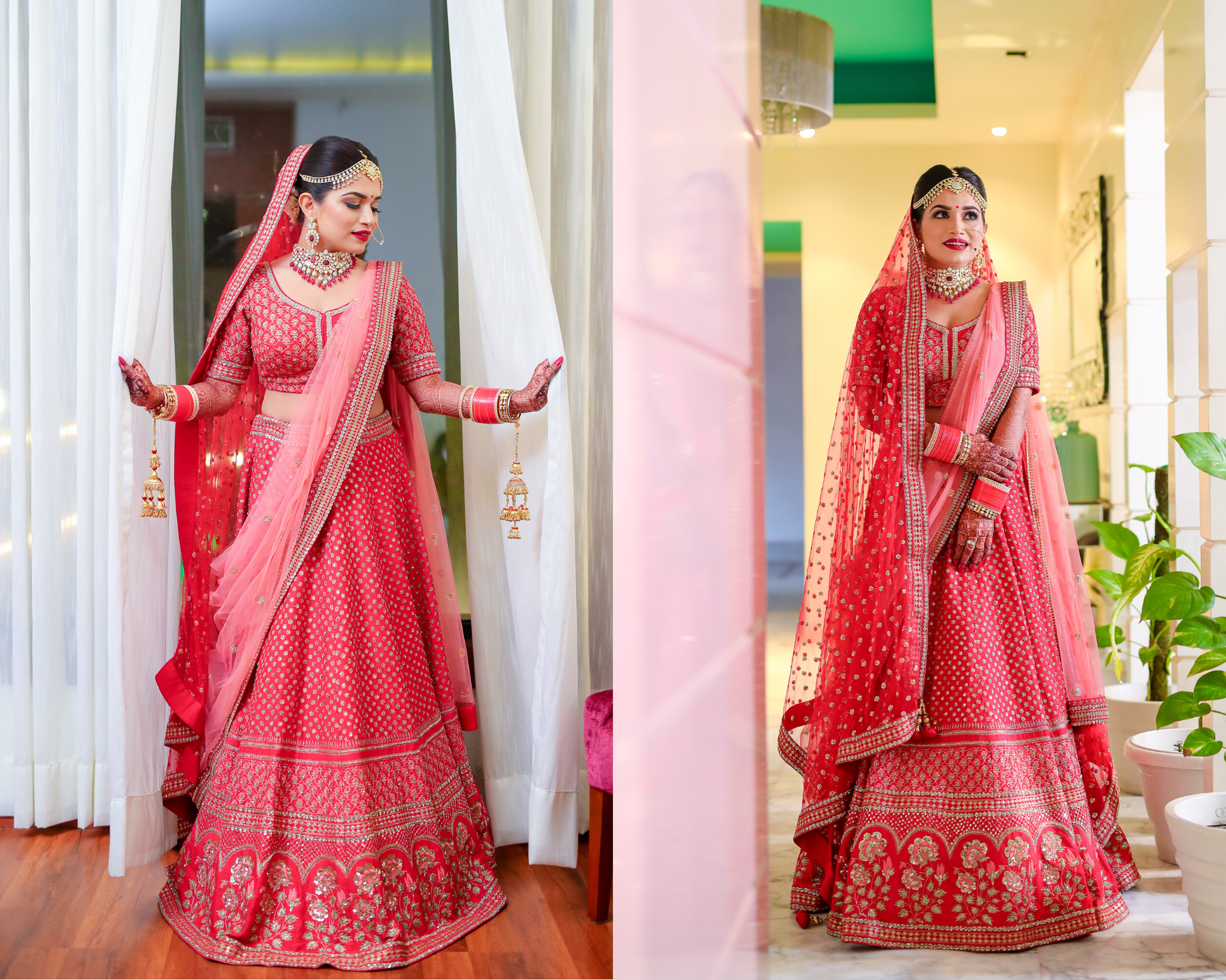 Gorgeous bride in Red lehenga